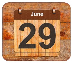 Calendar with the date of June 29.