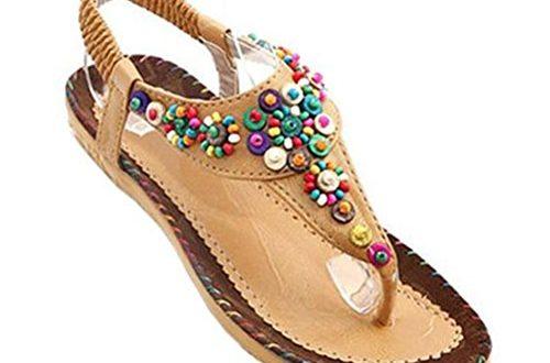 donalworld femme perles chaussures de plage de boh me t sangle tongs plateforme sandales. Black Bedroom Furniture Sets. Home Design Ideas