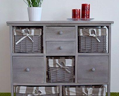 commode mueble tiroir armoire 8 tiroirs paniers en osier et bois gris 0 1665 notre si cle. Black Bedroom Furniture Sets. Home Design Ideas