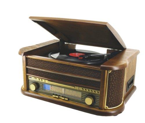 home co cha ne hi fi r tro en bois avec platine disque lecteur cd k7 mp3 usb radio lw fm