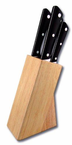 le couteau du chef 442770 bloc h tre naturel comprenant 4 couteaux de cuisine acier inox manche. Black Bedroom Furniture Sets. Home Design Ideas