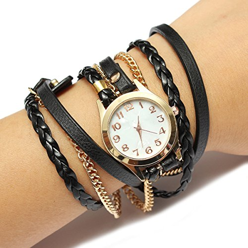 montre bracelet charme vintage weave cha ne en cuir. Black Bedroom Furniture Sets. Home Design Ideas