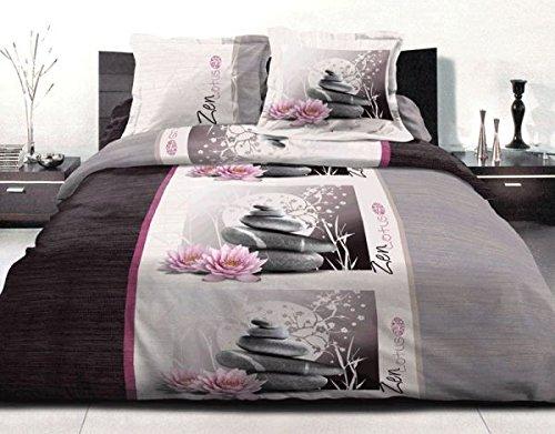 100pourcentmicrofibre housse de couette 220x240 cm microfibre zen lotus 2 taies d oreiller. Black Bedroom Furniture Sets. Home Design Ideas