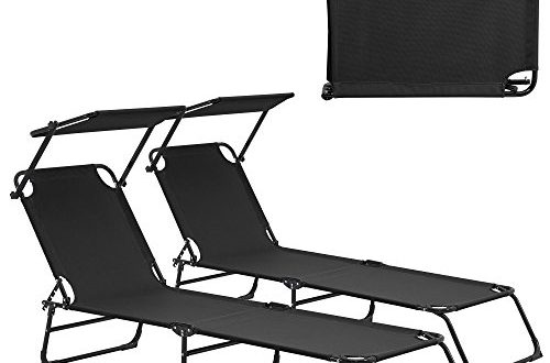 transats 2er set pliable 190cm noir avec toiture pare soleil de relax aluminium. Black Bedroom Furniture Sets. Home Design Ideas