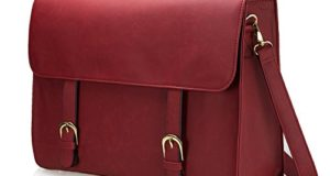39b33320c3 Estarer Sac Bandoulière Femme Cuir Vintage Sac Cartable Porté Travers Sac  Ordinateur Portable 15,6″ pour Travail Serviette Scolaire Imperméable  (Rouge)